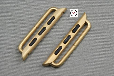Adaptateurs bracelets acier inox or pour Apple Watch 42mm (kit complet)