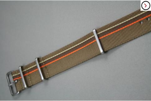Bronze & Chocolate Brown, Orange & Sandy Beige NATO strap, brushed buckle and loops