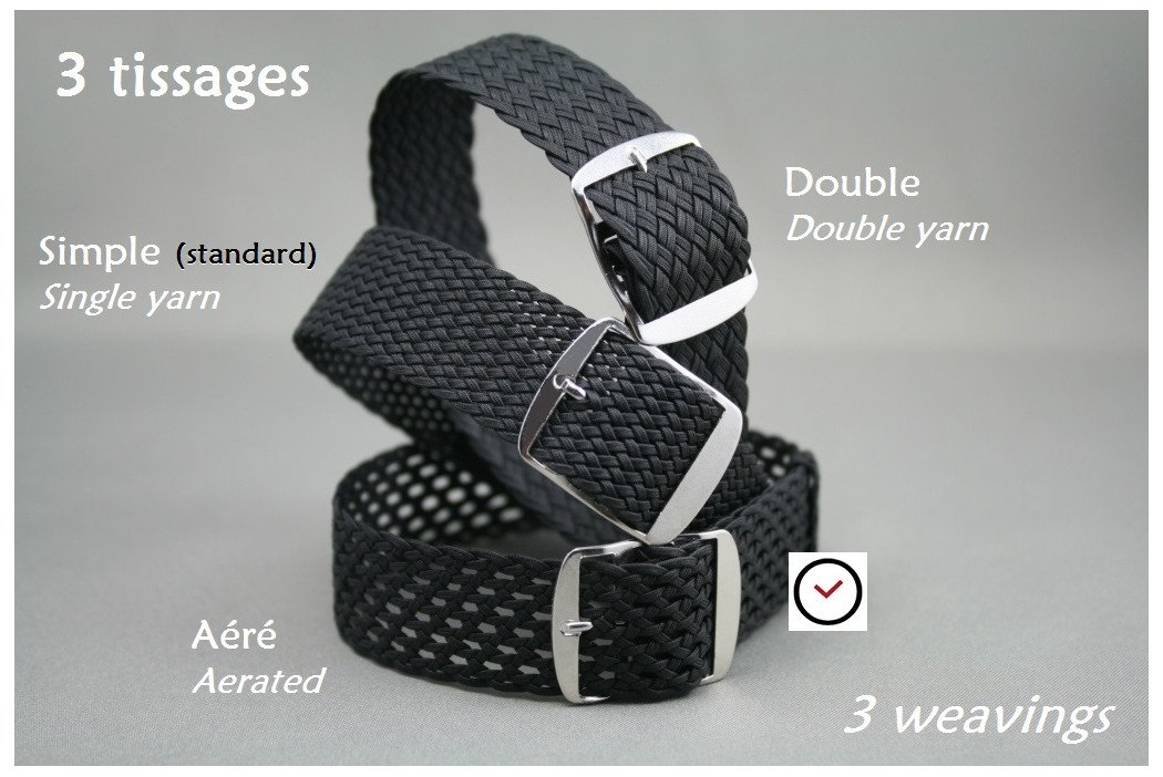 Bracelet montre Perlon tressé Vert, tissage double fil