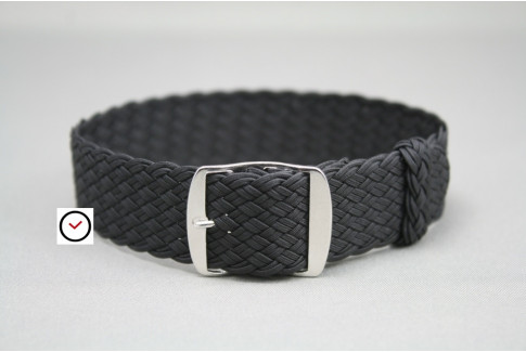 Black braided Perlon watch strap, double yarn weaving