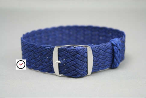 Dark Blue braided Perlon watch strap, double yarn weaving