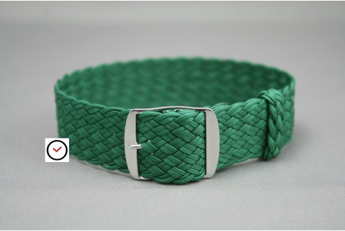 Green braided Perlon watch strap, double yarn weaving