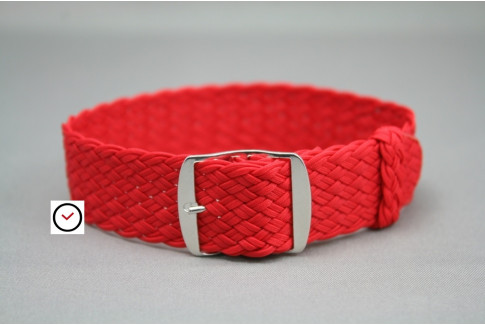 Red braided Perlon watch strap, double yarn weaving