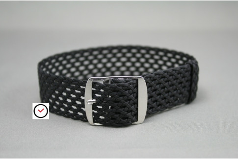 Black braided Perlon watch strap, aerated weaving