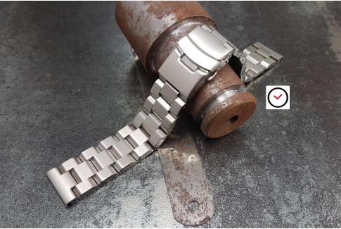Bracelet montre Hexad en acier inox massif, boucle déployante avec sécurité (18, 20, 22 & 24 mm)