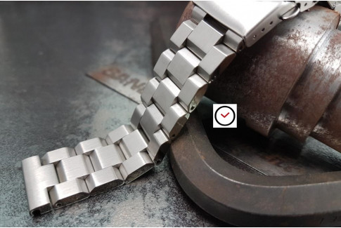 Hexad solid stainless steel watch band (18, 20, 22 & 24 mm), security clasp