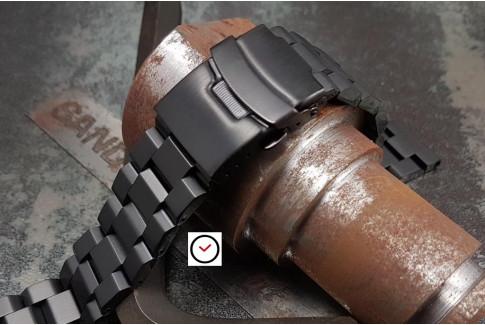 Bracelet montre Hexad Oyster en acier inox massif noir, boucle déployante avec sécurité (18, 20, 22 & 24 mm)