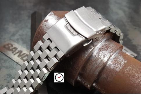 Bracelet montre Ingénieur en acier inox massif, boucle déployante avec sécurité (18, 20, 22 & 24 mm)