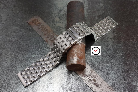 """Bracelet montre """"Harry"""" en acier inox massif, boucle déployante (18, 20, 22 & 24 mm)"""