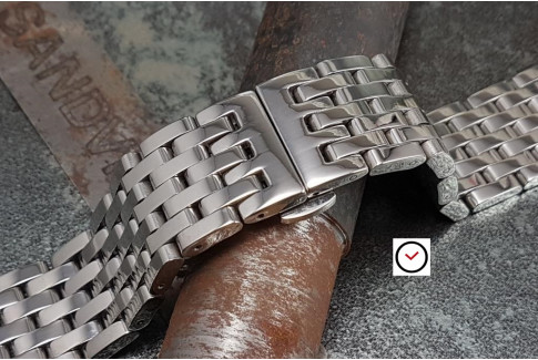 """""""Harry"""" solid stainless steel watch band (18, 20, 22 & 24 mm), deployment clasp"""