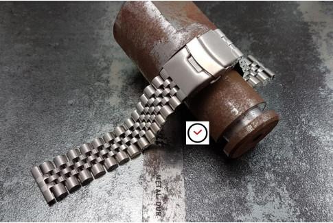 Bracelet montre Super Jubilee en acier inox massif, boucle déployante avec sécurité (20 & 22 mm)