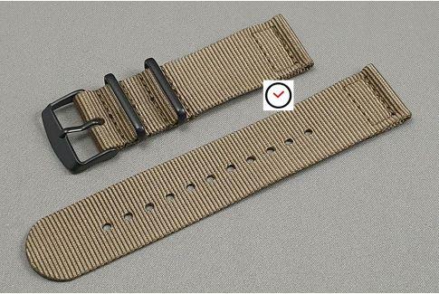Bracelet montre NATO 2 pièces Marron Bronze, boucle PVD (noire)