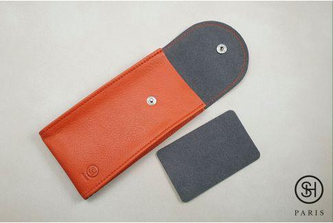 Pochette SELECT-HEURE en cuir vintage Orange pour montres (fait main en Italie)