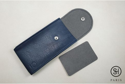 Navy vintage leather SELECT-HEURE watch pouch (handmade in Italy)