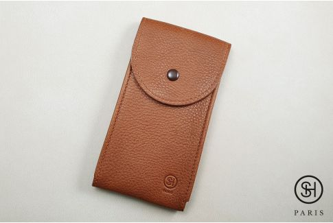 Ocher vintage leather SELECT-HEURE watch pouch (handmade in Italy)