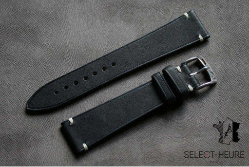Black Barenia calfskin Vintage Select'Heure leather watch band, minimal stitching