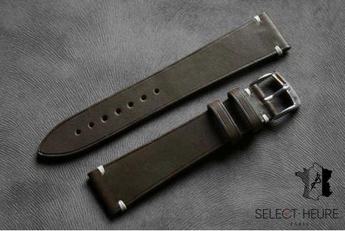 Kaki Barenia calfskin Vintage Select'Heure leather watch band, minimal stitching