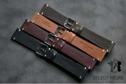 Bracelet montre cuir Select'Heure Texas Vintage Kaki, coutures minimales