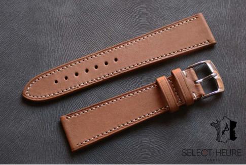 Bracelet montre cuir Select'Heure Texas Classique Gold, coutures contrastantes