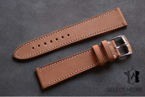 Gold Brown Barenia calfskin Classic Select'Heure leather watch band, contrasting stitching