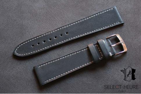 Bracelet montre cuir Select'Heure Texas Classique Gris, coutures contrastantes