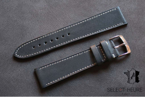 Grey Barenia calfskin Classic Select'Heure leather watch band, contrasting stitching