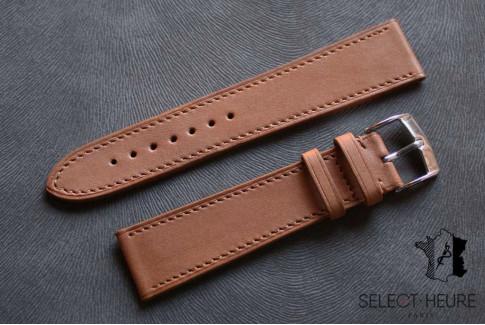 Bracelet montre cuir Select'Heure Texas Classique Gold, coutures ton sur ton