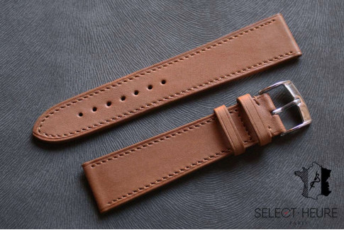 Gold Brown Barenia calfskin Classic Select'Heure leather watch band, tone on tone stitching