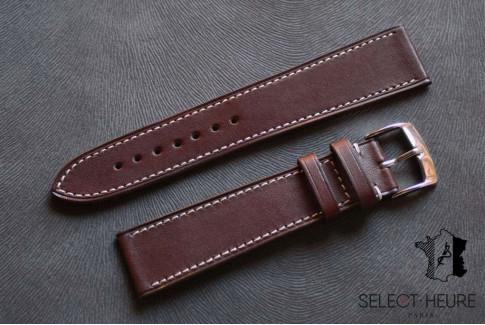 Bracelet montre cuir Select'Heure Texas Classique Vison, coutures contrastantes