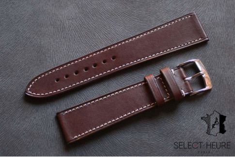 Dark Brown Barenia calfskin Classic Select'Heure leather watch band, contrasting stitching