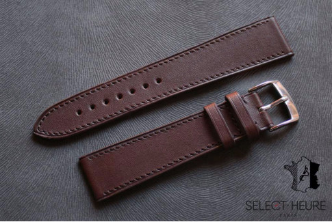 Dark Brown Barenia calfskin Classic Select'Heure leather watch band, tone on tone stitching