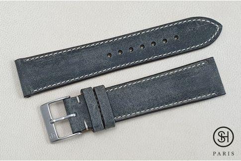 Bracelet montre cuir Motown SELECT-HEURE Ardoise (fait main)