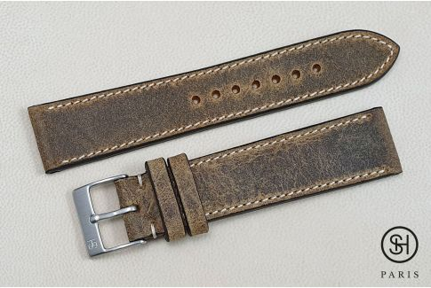 Teak Motown SELECT-HEURE leather watch strap (handmade)