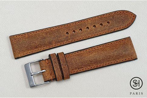 Bracelet montre cuir Motown SELECT-HEURE Rouille (fait main)