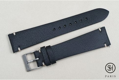 Black Old School SELECT-HEURE leather watch strap with quick release spring bars (interchangeable)