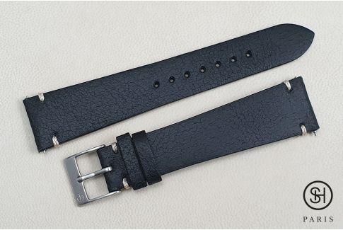 Bracelet montre cuir Old School SELECT-HEURE Noir avec pompes rapides (interchangeable)