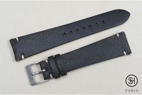 Black/Brown Old School SELECT-HEURE leather watch strap with quick release spring bars (interchangeable)