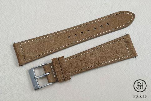 Bracelet montre cuir Suede SELECT-HEURE Bronze avec pompes rapides (interchangeable)