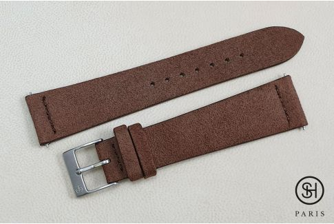 Cocoa Suede SELECT-HEURE leather watch strap with quick release spring bars (interchangeable)