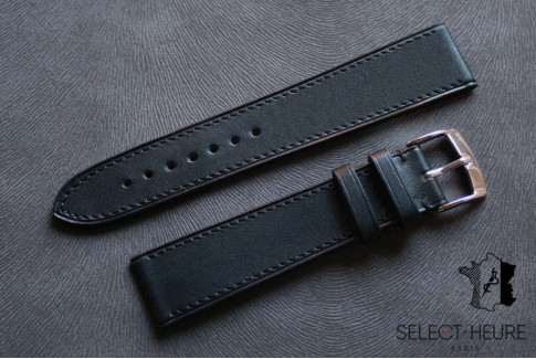 Black Barenia calfskin Classic Select'Heure leather watch band, tone on tone stitching
