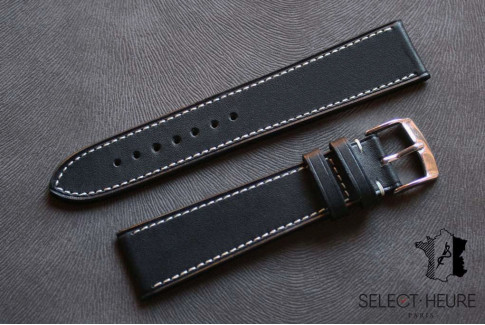 Black Barenia calfskin Classic Select'Heure leather watch band, contrasting stitching