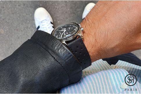 Bracelet montre cuir Rallye SELECT-HEURE Noir Mat avec pompes rapides (interchangeable)