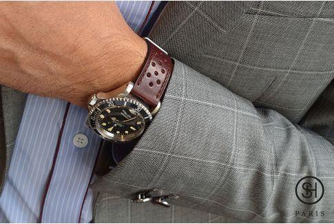 Bracelet montre cuir Rallye SELECT-HEURE Bordeaux avec pompes rapides (interchangeable)