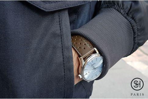 Bracelet montre cuir Rallye SELECT-HEURE Kaki avec pompes rapides (interchangeable)