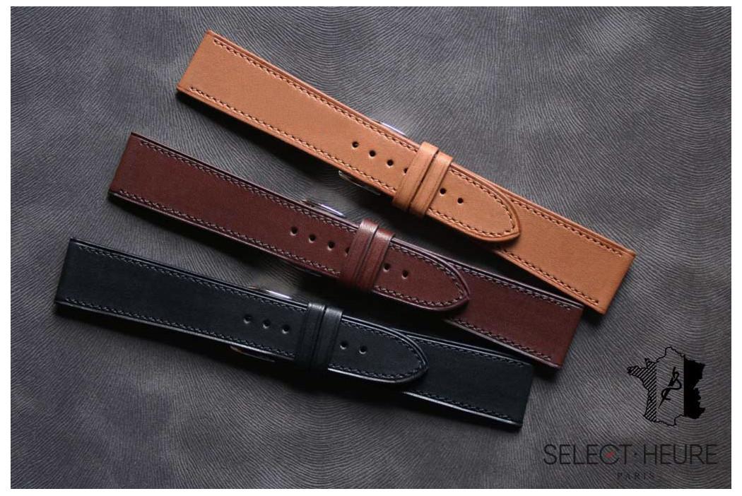 Bracelet montre cuir Select'Heure Texas Classique Noir, coutures ton sur ton