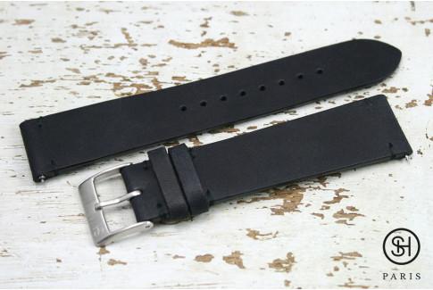 Bracelet montre cuir Vintage SH Noir Mat avec pompes rapides (interchangeable)