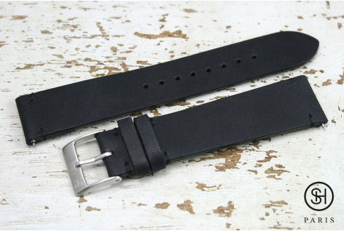 Mat Black Vintage SH leather watch strap with quick release spring bars (interchangeable)