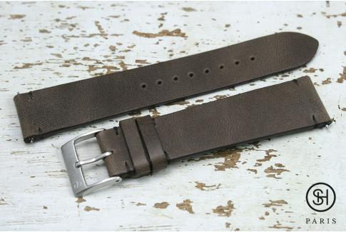 Bracelet montre cuir Vintage SH Marron Foncé avec pompes rapides (interchangeable)