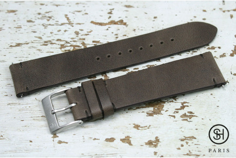 Dark Brown Vintage SH leather watch strap with quick release spring bars (interchangeable)