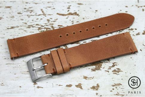 Bracelet montre cuir Vintage SH Marron Or avec pompes rapides (interchangeable)